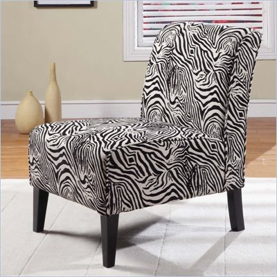 Linon Lily Slipper Chair in Black and White Zebra
