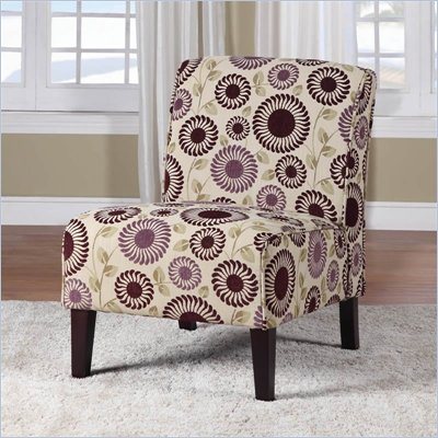 Linon Lily Slipper Chair in Purple Floral  