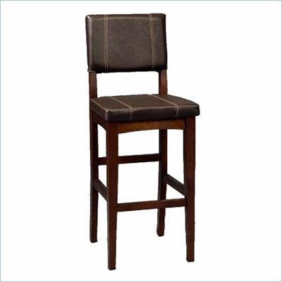 "Linon Milano 30""H Bar Stool in Walnut"