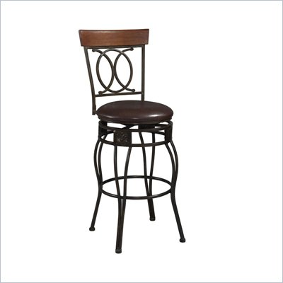 "Linon Salina 24""H Vinyl Counter Height Bar Stool with Swivel"