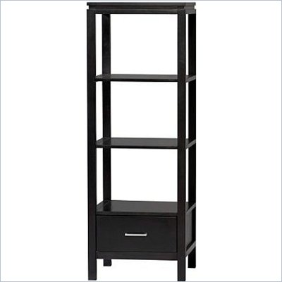 Linon Sutton Audio Tower with 3 Shelves in Black Finish