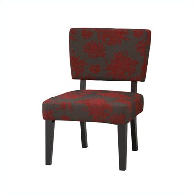 Linon Taylor Accent Chair with Red, Gray, and Black Flower Pattern