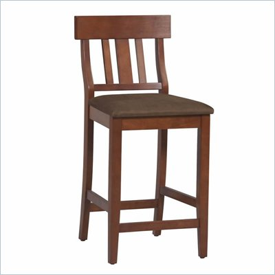 Linon Torino Slat Back Counter Stool 24&quot; in Dark Cherry