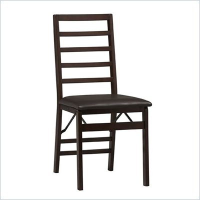 Linon Triena Ladder Back Vinyl Side Chair in Rich Espresso Finish (Set of 2)