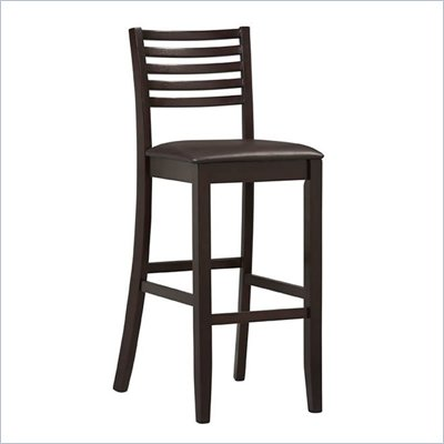 Linon Triena Collection 30&quot; High Ladder Bar Stool in Espresso