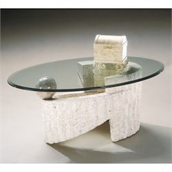 Magnussen Ponte Vedra Oval Cocktail Table in Natural Finish with Glass Top