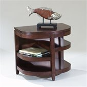 Magnussen Brunswick Demilune End Table w/ Storage Shelves in Coffee Bean