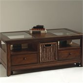 Magnussen Tanner Wood Storage Rectangular Coffee Table with Glass Inserts