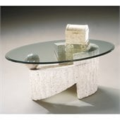 Magnussen Ponte Vedra Oval Glass Top Cocktail Table and End Table Set