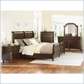 Magnussen Belcourt Sleigh Bed 5 Piece Bedroom Set in Cherry Finish