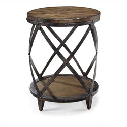 Magnussen Pinebrook Round Accent Table in Distressed Pine