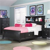 Magnussen Bennett Bookcase Bed with Regular Rail and Storage in Black