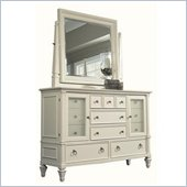 Magnussen Ashby Wood Dresser and Mirror Set in Patina White