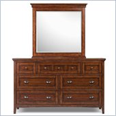Magnussen Harrison Wood Double Dresser and Mirror Set in Cherry