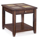 Magnussen Allister Wood Rectangular End Table in Cinnamon