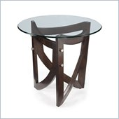 Magnussen Lysa Wood and Glass Round End Table in Coffee