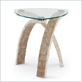 Magnussen Cascade Stone and Glass Oval End Table in Natural and Glass