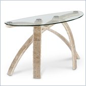 Magnussen Cascade Demilune Sofa Table in Natural and Glass