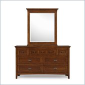 Magnussen Riley 7 Drawer Dresser and Portrait Mirror in Cherry