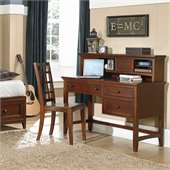 Magnussen Riley Wood 3 Drawer Desk With Hutch in Cherry