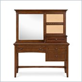 Magnussen Riley Wood 3 Drawer Desk With Vanity Mirror in Cherry