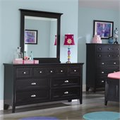 Magnussen Bennett Wood 7 Drawer Dresser and Mirror Set in Black