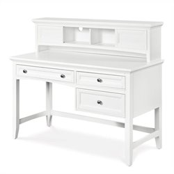 Magnussen Kenley Wood 3 Drawer Desk With Optional Hutch in White