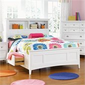 Magnussen Kenley Bookcase Bed With Regular Rail and Storage in White