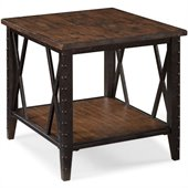 Magnussen Fleming Rectangular End Table in Rustic Pine
