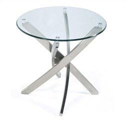 Magnussen Zila End Table in Brushed Nickel