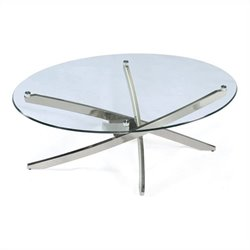 Magnussen Zila Oval Cocktail Table in Brushed Nickel