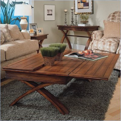 Magnussen Bali Rectangular Flip Top Cocktail Table and End Table Set in Nutmeg Finish