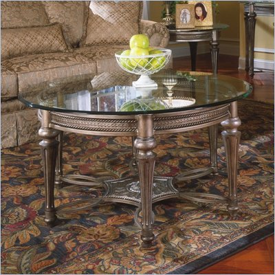 Magnussen Galloway Round Glass Top Cocktail Table and End Table Set