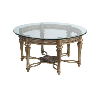 Magnussen Galloway Round Glass Top Cocktail Table with Pewter Finish