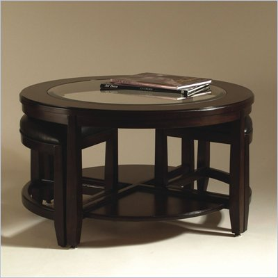 Magnussen Gaston Round Bunching Wood and Glass Cocktail Table in Brown