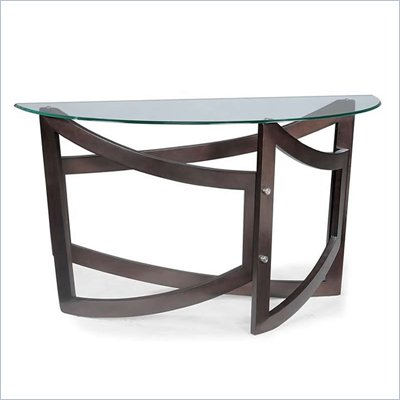 Magnussen Lysa Wood and Glass Demilune Sofa Table in Coffee