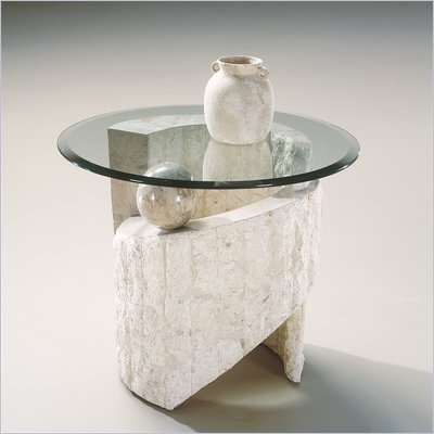 Magnussen Ponte Vedra Round End Table with Glass Top