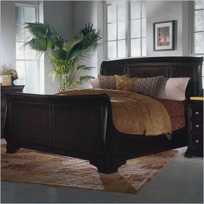 Magnussen Reflections Sleigh Bed in Midnight Merlot Finish