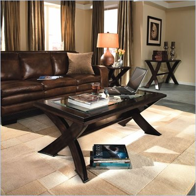 Magnussen Roxboro Wood Coffee Table and End Table Set with Glass Inserts