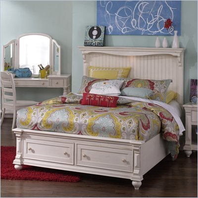 Magnussen Summerhill Panel Bed with Storage in Antique White Finish
