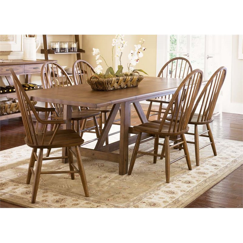 Liberty Furniture Farmhouse Trestle Dining Table in Weathered Oak