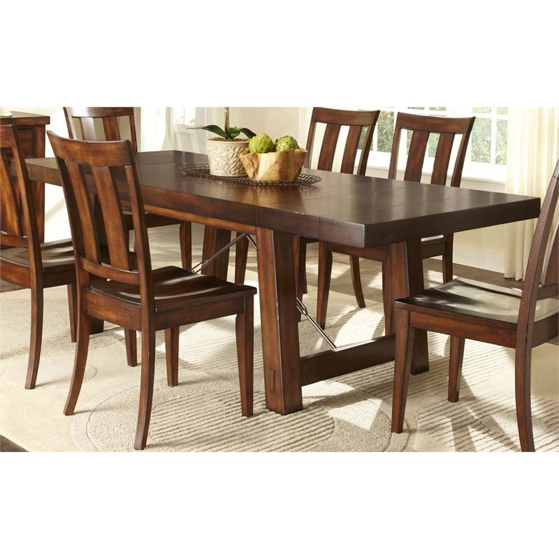 Liberty Furniture Tahoe Trestle Dining Table in Mahogany Stain