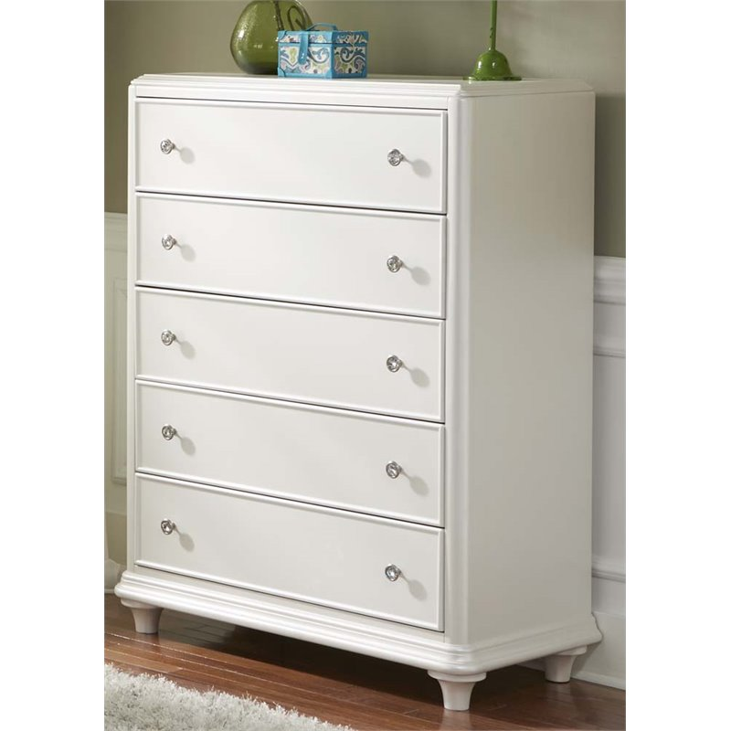 Liberty Furniture Stardust 5 Drawer Chest in Iridescent White