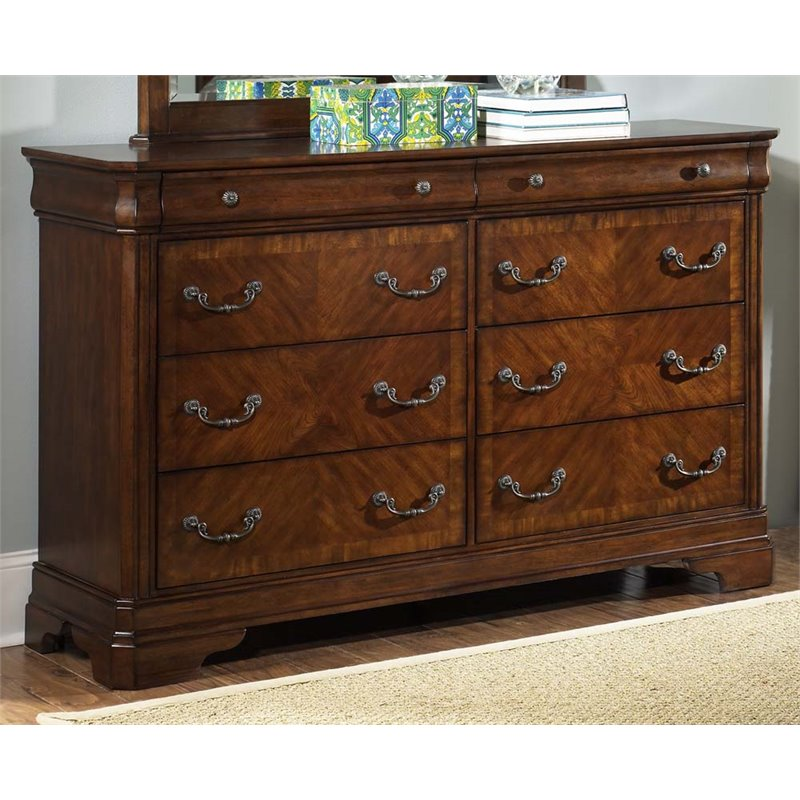Liberty Furniture Alexandria 8 Drawer Dresser in Autumn Brown