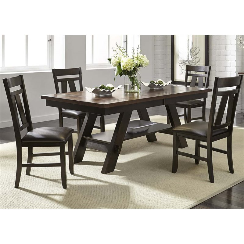Liberty Furniture Lawson 5 Piece Dining Set in Light and Dark Espresso