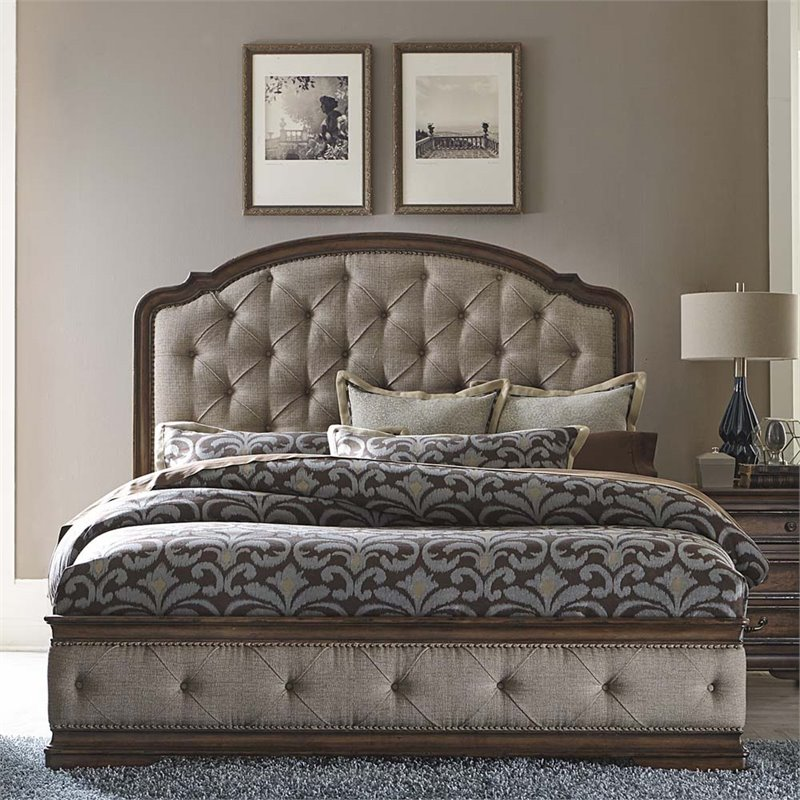 Liberty Furniture Amelia Upholstered King Bed in Antique Toffee