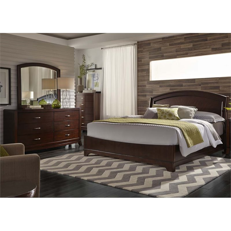 Liberty Furniture Avalon 4 Piece King Panel Bedroom Set in Truffle