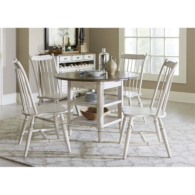 Liberty Furniture Oak Hill 5 Piece Drop Leaf Dining Set in White