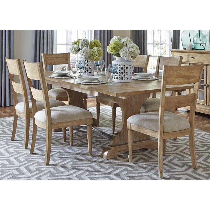 Liberty Furniture Harbor View 7 Piece Trestle Dining Set in Sand
