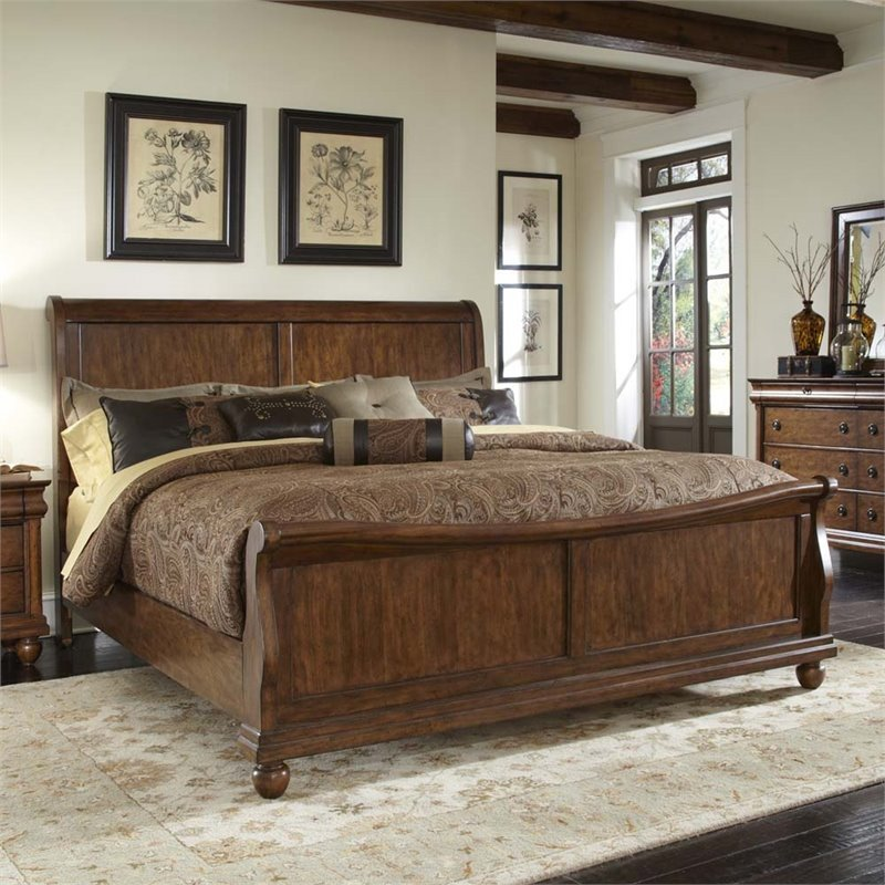Liberty Furniture Rustic Traditions King Sleigh Bed in Rustic Cherry